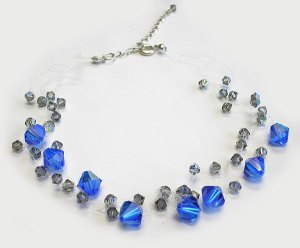 Swarovski Blue Topaz & Blk Diamonds Croshet Necklace on clear strings
