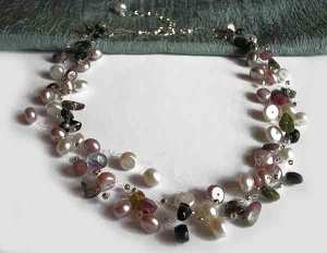 Tourmaline w/ Pearls 17-19`` Crochet Necklace on clear strings